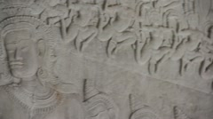 Ancient Temple (Angkor) - Bas-relief detail #13 Stock Footage