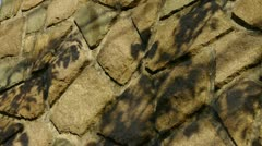 Swing leaves silhouette shadow on stone wall. Stock Footage