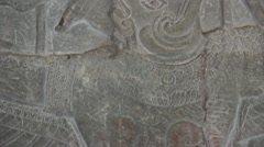 Ancient Temple (Angkor) - Detail Bas-relief with Shiva Stock Footage