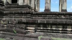 Ancient Temple (Angkor) - Low Angle Pan Up & Round Angkor Wat Stock Footage