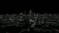 City Night Flight, Stereoscopic 3D Anaglyph, Red Cyan - stock footage