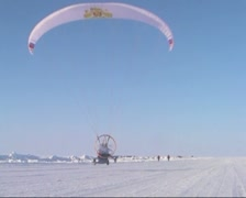 Paraglider with motor and propeller Stock Footage