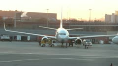 Boeing 737 with 757 Taxiing in Front Stock Footage