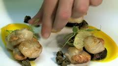 Chef prepares Scallops Stock Footage