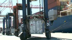 Containers waiting to be loaded. Stock Footage