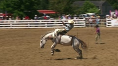 Cowboy Riding Bucking Bronco 2 Stock Footage