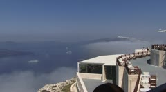 Slow pan across Greek Islands Santorini Stock Footage