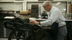 Printer using letterpress Stock Footage