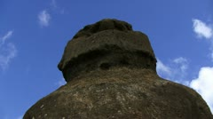 Moai statue Easter Island close-up Stock Footage