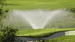Golf Course Irrigation Spray Stock Footage
