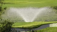 Stock Video Footage of Golf Course Irrigation Spray