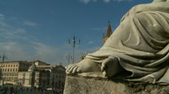 Statue feet to Piazza del Popolo in Rome glidecam Stock Footage