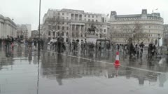 Trafalgar square london - rainy. timelapse Stock Footage