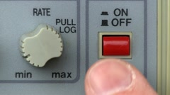 Power button turn on/off; signal generator Stock Footage