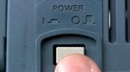 Power button turn on/off; oscilloscope Stock Footage