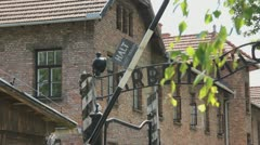 Auschwitz Arbiet Mach Frei Gate Pan Stock Footage