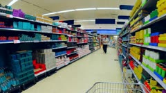 Timelapse of Supermarket Aisle with Shoppers, UK - stock footage
