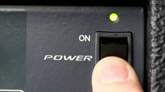 Power button turn on/off; powered audio mixer Stock Footage