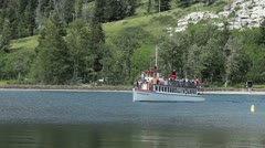 Waterton Park tour ferry boat P HD 0438 Stock Footage