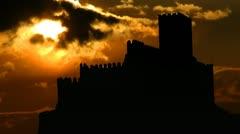 Andorra Castillo de Almansa sobre el cerro del Aguila sun gliding - stock footage