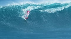 maui, hi - march 13: professional windsurfer rides a giant wave at jaws. marc - stock footage