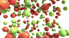 Green and Red Apples Falling. HD loop Stock Footage