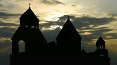 Armenia monastery of St.Echmiadzin sunset clouds - stock footage