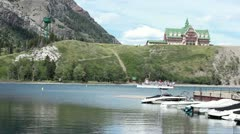 Waterton Park ferry boat P HD 0436 Stock Footage