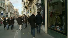 Shopping street glidecam Stock Footage