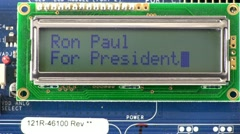 Presidential candidate Ron Paul texting style message Stock Footage