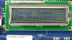 Presidential candidate Barack Obama texting style message Stock Footage