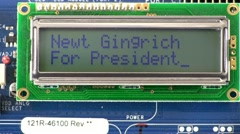 Presidential candidate Newt Gingrich texting style message - stock footage