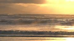 Heavenly Light Glowing Breakers Alaskan Sunset 1 Stock Footage