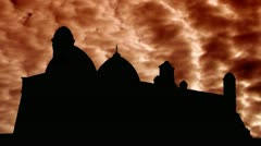 Kazakhstan Arystanbab mausoleum orange clouds Stock Footage