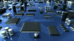 Blue Circuit Board. HD Loop. Stock Footage