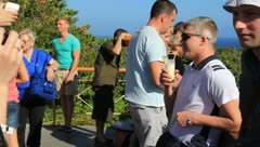 Tourists enjoying scenic overlook in Cuba Stock Footage