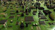 Green Circuit Board and CPU Stock Footage