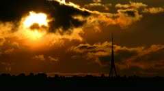 Latvia Riga TV Tower sungliding - stock footage