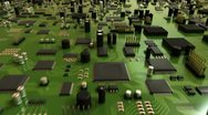 Stock Video Footage of Green Circuit Board and CPU