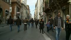Crowds, different ages, male, female - long glidecam Stock Footage
