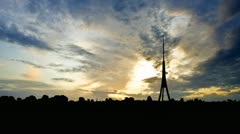 Latvia Riga TV Tower sunset clouds - stock footage