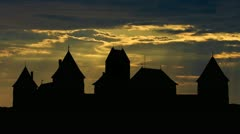 Lithuania Trakai castle sunbeams Stock Footage