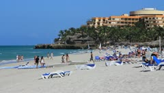 Beach scene in Cuba Stock Footage