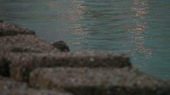 Marine rocks at sunset Stock Footage