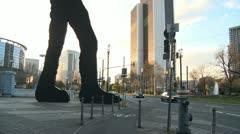 Hammering Man in Frankfurt Stock Footage