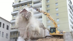 Notorious BUWOG house in Vienna is demolished Stock Footage
