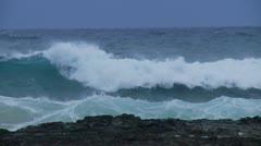 Slow Motion Wave Break at Duranbah, Gold Coast - stock footage