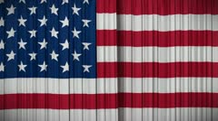 USA flag curtain, Opening and closing 3d animation, HD, mask. - stock footage