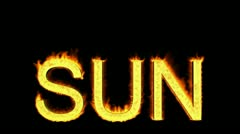 Word sun in flames Stock Footage