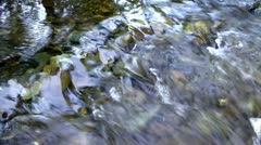 Stream in the autumn, it is fast this ice water will freeze - stock footage